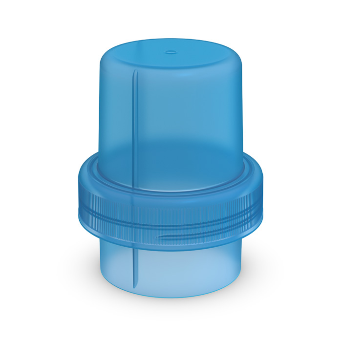 Dosing cap for softener/washing gel blue